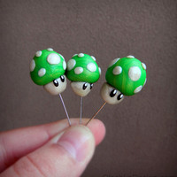 1UP Green Mushroom (Mario) Cupcake / Cake Topper - Polymer Clay