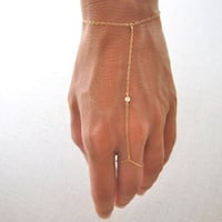 slave bracelet - hand chain // delicate 14k gold filled chain with tiny cubic zirconia cz diamond ring bracelet