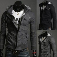 W04 Fashion Korean Men&#x27;s Slim Fit Hoodie Sweater Male Top/Jacket/Coat/Sweatshirt