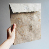 Handmade Paper Envelopes. Extra Large Set of 5 recycled light brown paper, deckled edge. announcements, gifts, photos.