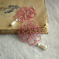 Old rose, pearl and white lace earrings, handmade tatting lace, original design, statement earrings