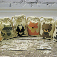 Muslin Custom Printed Bags Woodland Animals Favor Baby Shower Birthday Bags Qty 6