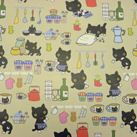"Gift wrapping Paper Imported Cute cats in the Kitchen 2 sheets 21"" X 29 1/2""  Inch"