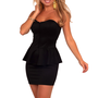 Strapless Sweetheart Bust Waist Ruffle Evening Party Cocktail Peplum Dress S M L