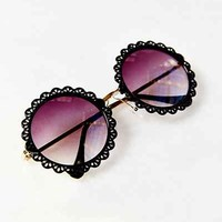 Flower Patch Round Sunglasses- Black One