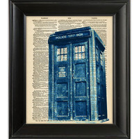 TARDIS Dr Who Distressed Blue British Police Box Booth Dictionary Art Print Illustration Upcycled Antique Vintage Book Page Art 8x10