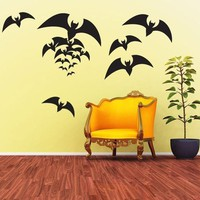 Vinyl Wall Decal Sticker Art - Spooky Bats - Halloween Decorations