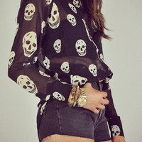 Luna Vintage — Original Skull Button Up