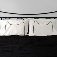 His and Hers Cat Nap Pillowcases, Standard Size 200TC