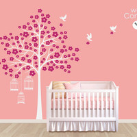 "Baby Nursery Wall Decals - White Tree Wall Decal - Birdhouse wall decal - Tree Wall Decals - Large: approx 84"" x 62"" - K007"