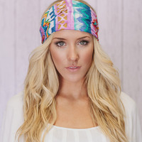 Lavender Aztec Tribal Headband Bohemian Turban Headband Wide Hair Wrap