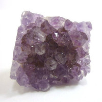Square Cut Raw Amethyst Crystal Cluster Ring by AstralEYE on Etsy