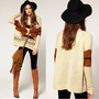 Vintage Womens Aztec Knitted Scoop Neckline Geometry Sweater Knitwear Cardigan