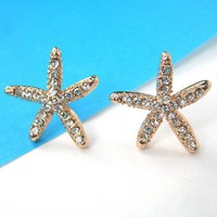 Simple Starfish Star Shaped Stud Earrings in Gold with Rhinestones