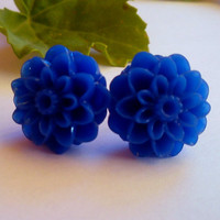 Blue cabochon post stud earrings