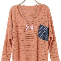 Orange Loose Pullover Pocket Sweater S000346