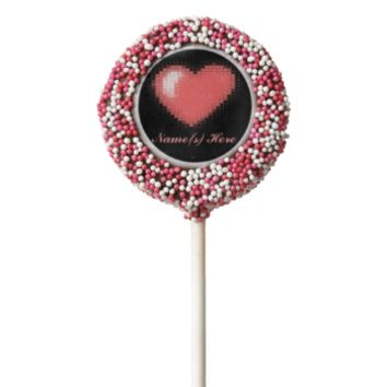 Tiled Mosaic Heart (Pink) Chocolate Dipped Oreo Pop