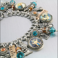 Cleopatra Charm Bracelet, King Tut Silver Charm Bracelet,  Egyptian Jewelry, Queen of the Nile