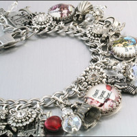 Fairy Tales Charm Bracelet, Silver Charm Bracelet, Once Upon a Time Jewelry, Fairy Tales Jewelry, Princess Jewelry