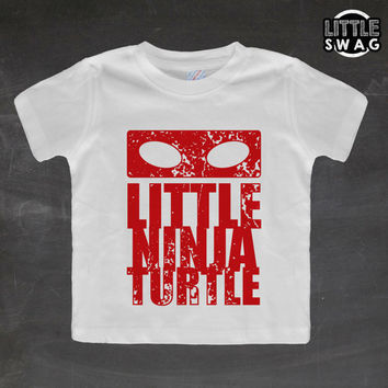 Little Ninja Turtle Red (white shirt) - toddler apparel, kids t-shirt, children's, kids swag, clothing, ninja turtle, nerdy, kids clothes