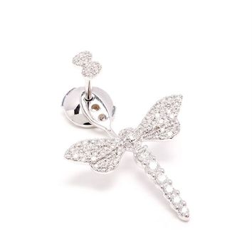 18k Gold and Diamond Dragonfly Lobe Earring - YVONNE LEON