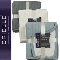 Brielle Cozy Cable Knit Throw with Sherpa Lining, Ivory