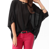 Pleated Batwing Sleeve Top