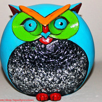 Hoot Owl Figure/ Colorful Hand Painted Aqua Blue Green Orange Accent/ Vibrant, Bright, Fun Up Cycled Decor/ Gift Ideas/ Spring Sale
