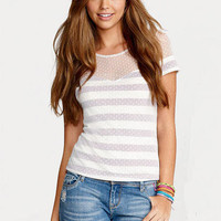 Stripe Dot Lace Short Sleeve
