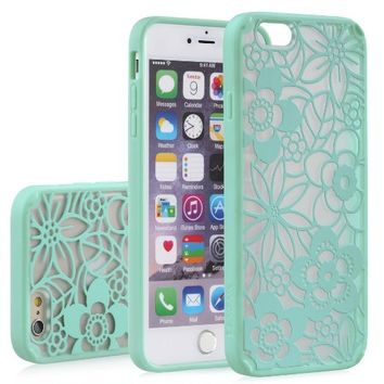 "iPhone 6 Case - VENA [TACT ARMOR] Shock Absorbent Cover Slim Hybrid Armor Case for Apple iPhone 6 (4.7"") - Flora / Teal"