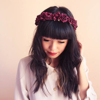 romantic pastel rose headband // burgundy - dainty, floral headpiece, nature inspired, vintage inspired, rustic rose, love.