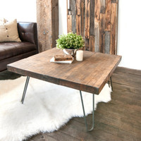 Wooden Coffee Table salvaged Butcher Block Barn Wood Coffee Table w/Hairpin Legs Fast shipping
