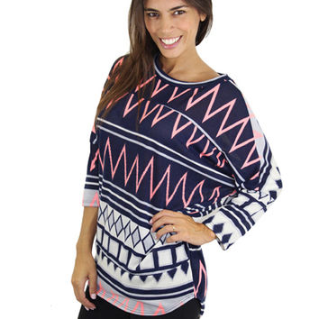 Neon Coral And Navy Printed Top
