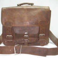 Handmade 16&quot; leather messenger cross body Laptop MacBook Retro Satchel/ shoulder bag