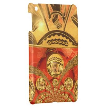 Golden red African traditional art