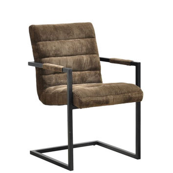 Halsten Arm Chair - Mocha Fabric - Halsten Fabric Arm Chair - Mocha