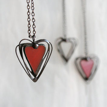 Heart necklace, valentines gift, modern heart necklace pendant, stained glass heart