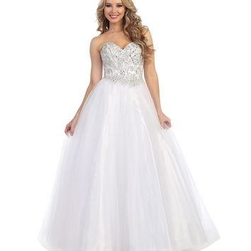 Preorder - White Beaded Strapless Sweetheart Gown Prom 2015