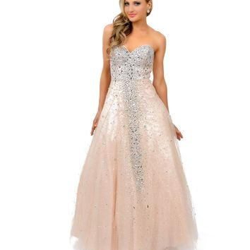 Champagne Sequin Beaded Strapless Sweetheart Tulle Ball Gown Prom 2015