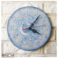 The Moon and Stars Blue Wall Clock Home Decor for Children Baby Kid Boy Girl Nursery Playroom