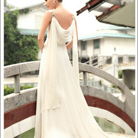 hot sale elegant wedding gown lace fitted White by topyecheng