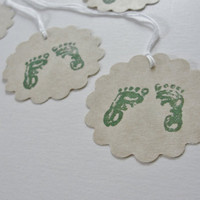 Baby Shower Gift Tags, Creamy Buff and Hunter Forest Green Baby Feet Gift Tags, Hand Stamped Paper Cutouts, New Baby Gift Tags, Set of 12