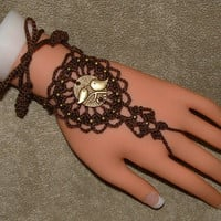 Slave Bracelet Rings / Barefoot Sandals in Brown with Love Bird Charms