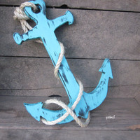 Anchor-Nautical Home Decor-Wall Hanging-Beach House-Turquoise