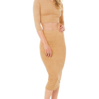 Per-Suede Me Nude Midi Skirt
