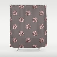 Painted Pink Roses Shower Curtain by Kat Mun
