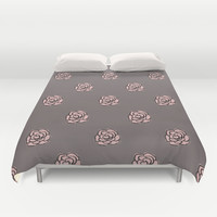 Painted Pink Roses Duvet Cover by Kat Mun