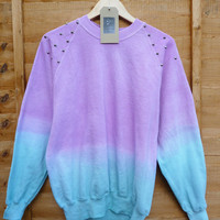 Pink and Teal Dip Tie Dye Studded Sweater Shirt Summmer Pastels Fashion Jumper Spike Shoulders Oversize Vintage
