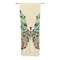 """Art Love Passion """"Butterfly"""" Brown Multicolor Decorative Sheer Curtain - 30"""" x 84"""""""