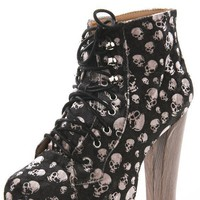 Shoe Republic LA Alexander Black Velvet Skull Wooden Heel Booties shop Boots at MakeMeChic.com